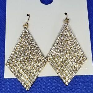 Diamond shape drop earrings (rhinestones)